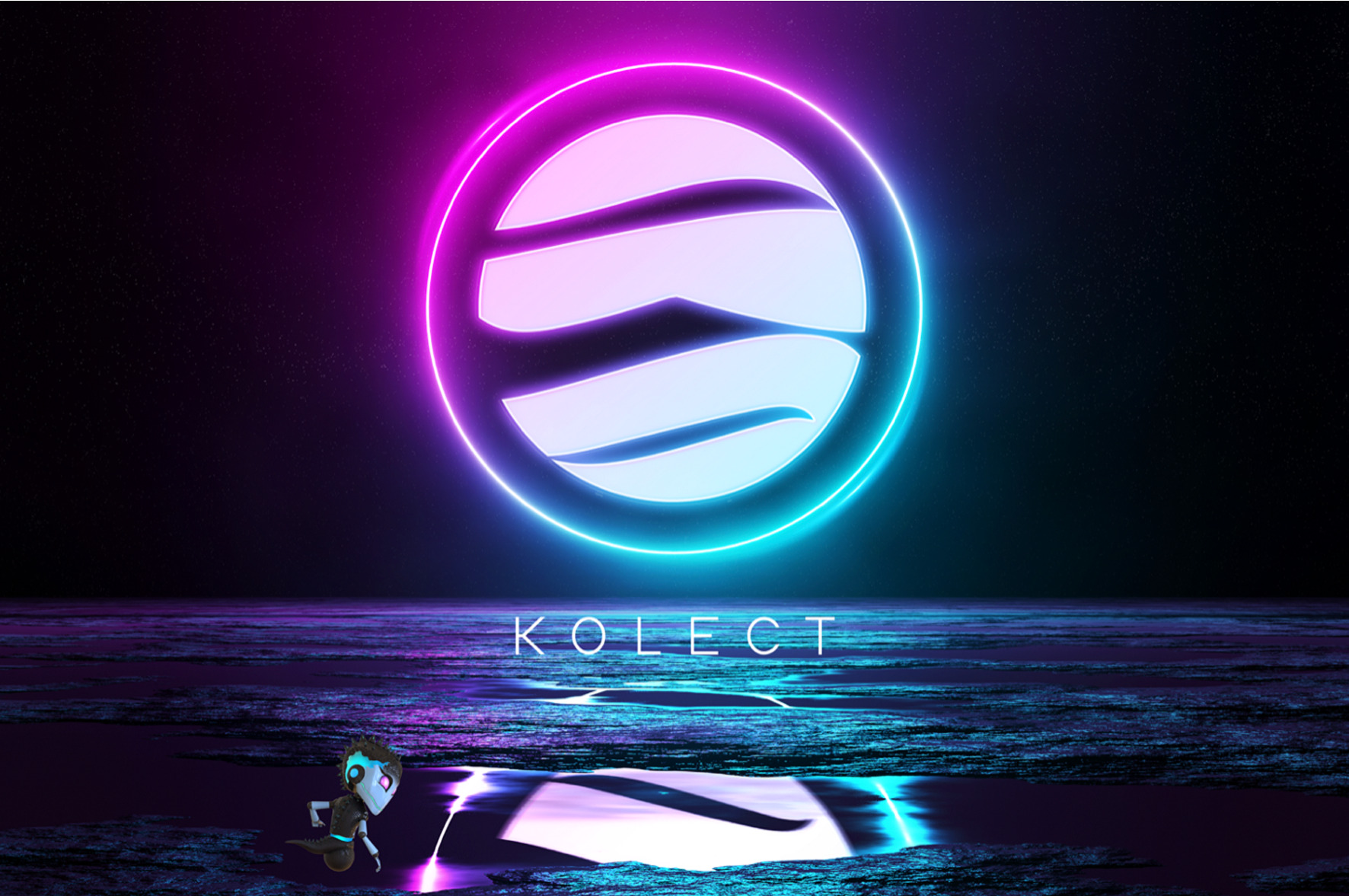 A pink-and-blue neon logo of the Terra Virtua Kolect (TVK) coin. The colours are reflected into the water below it, where a vFlect figure is posing.