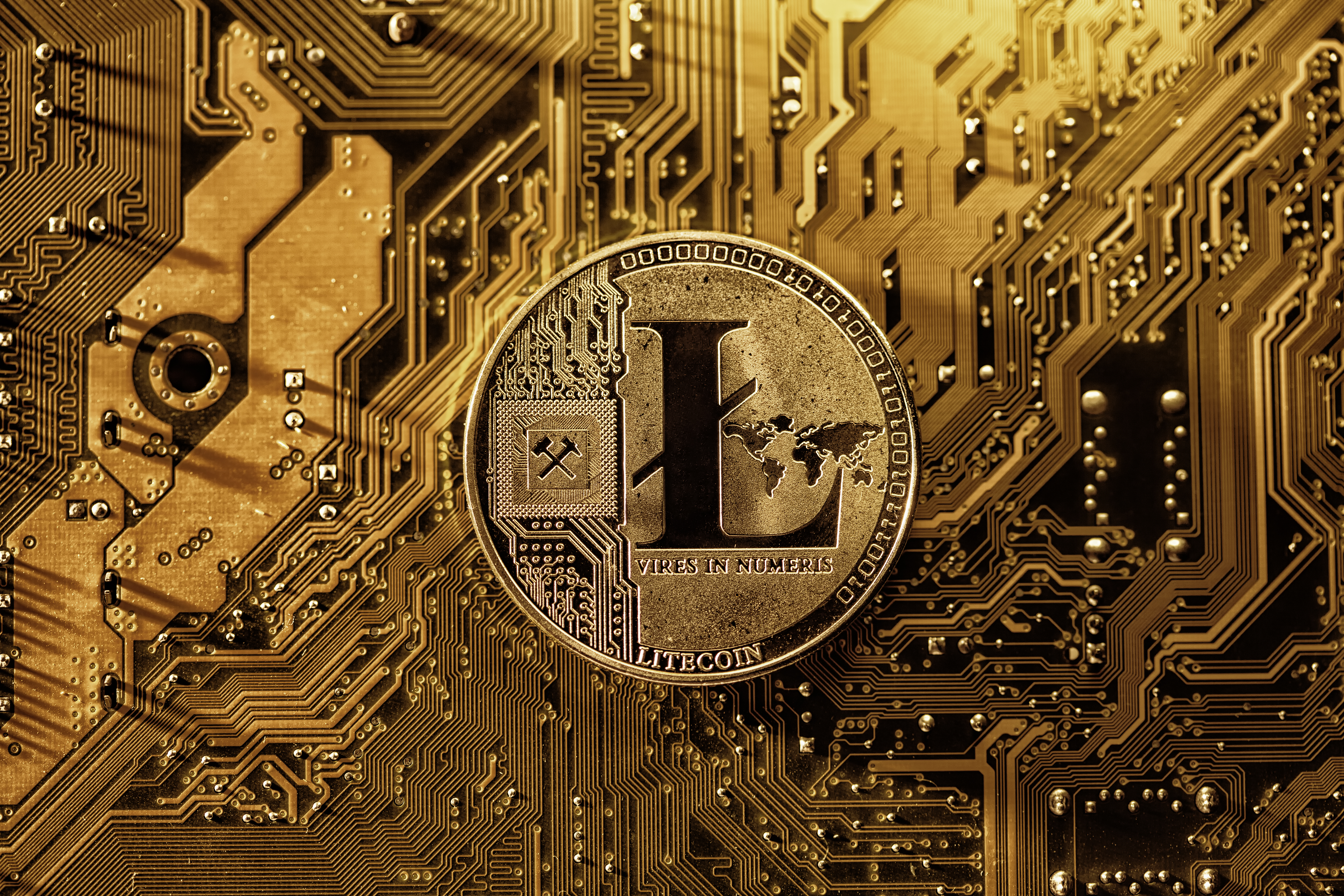 Representation of a Litecoin token in front of a computer motherboard