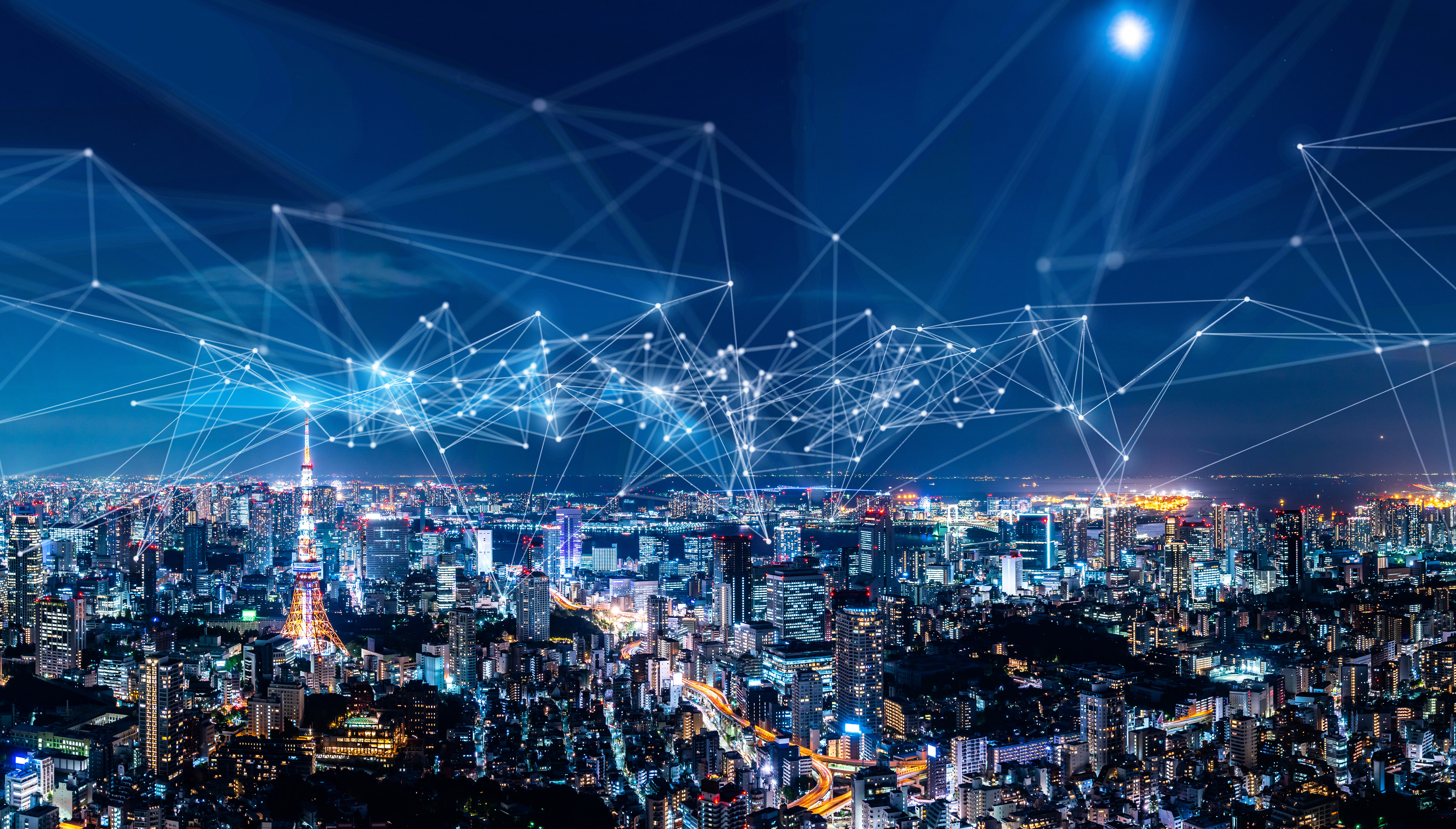 An imagined cityscape with visible network connections flying through the sky