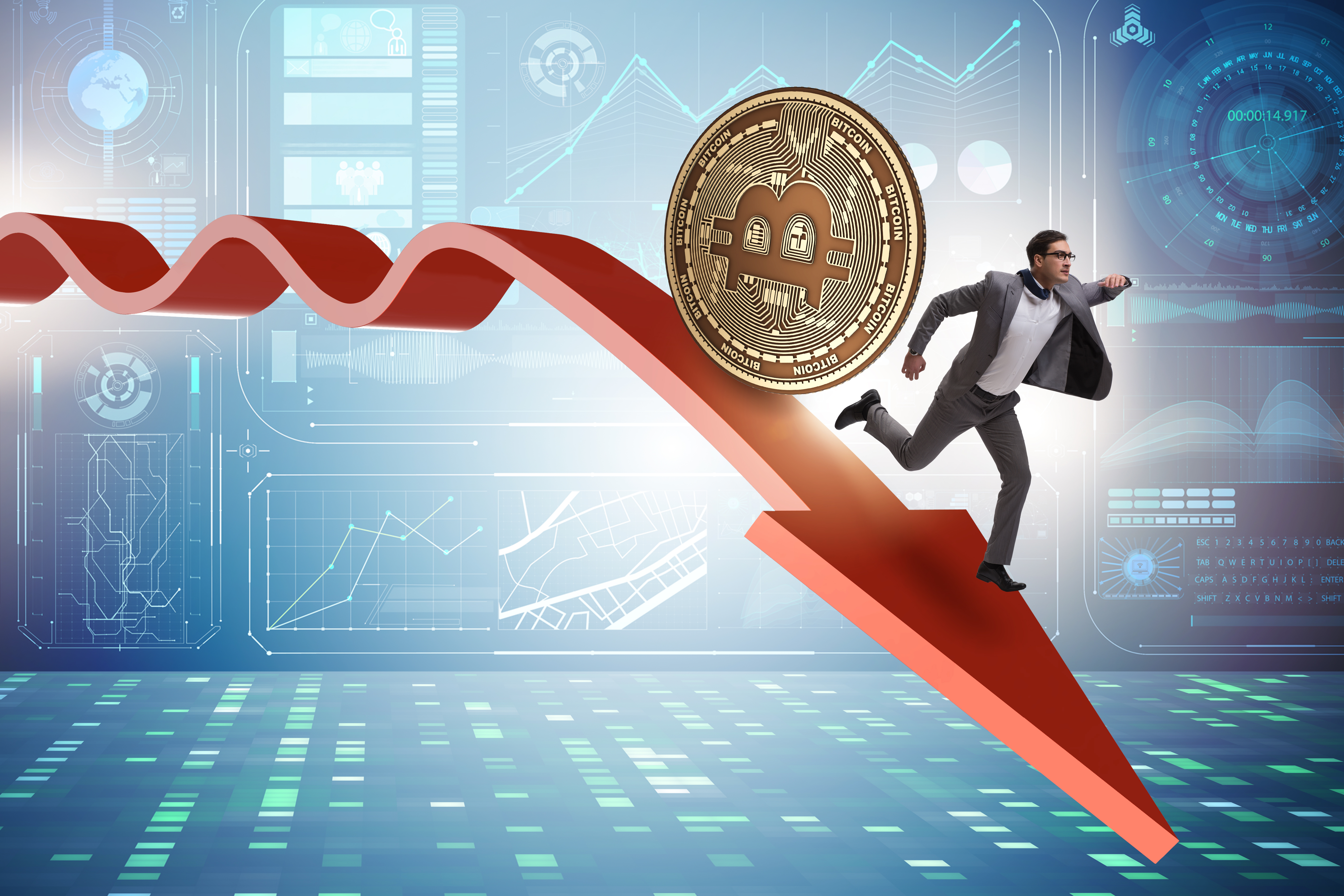 Bitcoin price analysis – executive running on a downward-pointing arrow behind a rolling bitcoin token