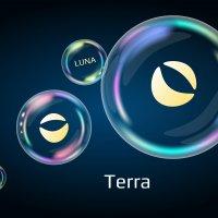 The logo of Terra Luna coin in three bubbles.