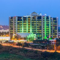 Night falls on the central banking district in Abuja, Nigeria
