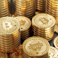 Collection of gold Bitcoins