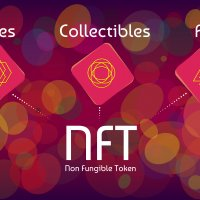 A graphic illustration showing non-fungible tokens (NFTs) with white text on a red background