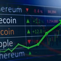 Bitcoin in financial business market concept charts