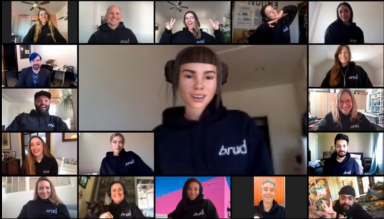 Conference call montage featuring virtual influencer Lil Miquela and some of the team at Brud