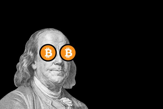 A black and white illustration of Benjamin Franklin with BTC logo superimposed over his eyes