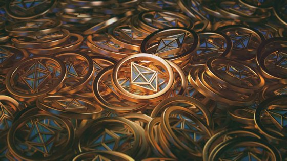 A visualisation of a pile of ethereum coins