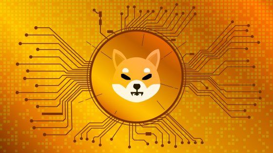 Shiba Inu coin design on a gold background