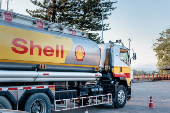 A Shell fuel tanker on the road