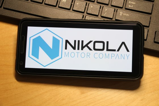 Nikola logo on a smartphone