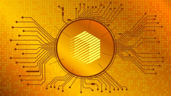 A REN coin on a gold graphic background