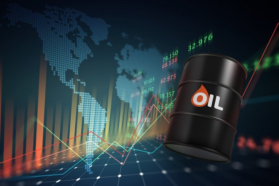 oil barrels with a growth chart in the investment market and map of world – 3d illustration