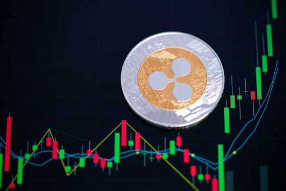Representative image of Ripple token against a candlestick chart