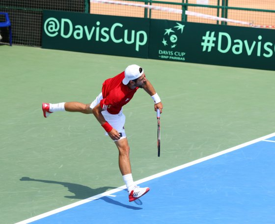 Jurgen Melzer of Austria serves during BNP Paribas Davis Cup, 2016