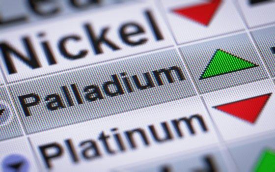 Palladium price on stock ticker board