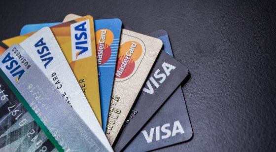 Visa bank cards spread out in fan formation