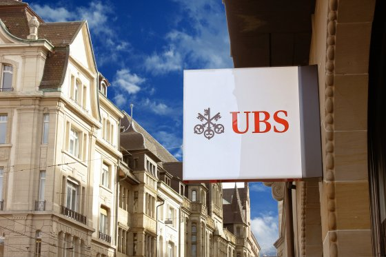 A UBS sign above one of its bank branches