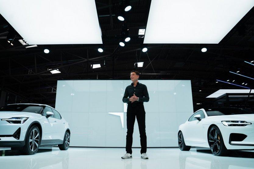 Polestar CEO Thomas Ingenlath in a car showroom