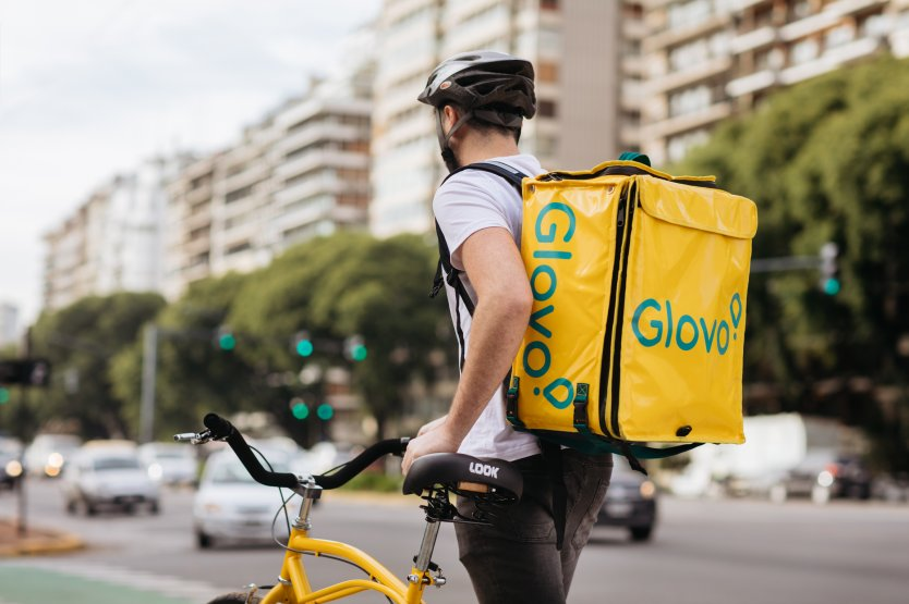 Glovo courier on the road