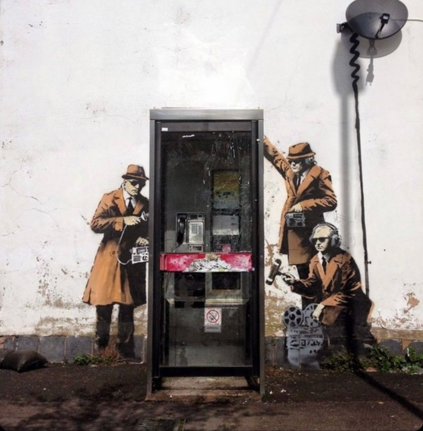 Spy Booth mural by Banksy