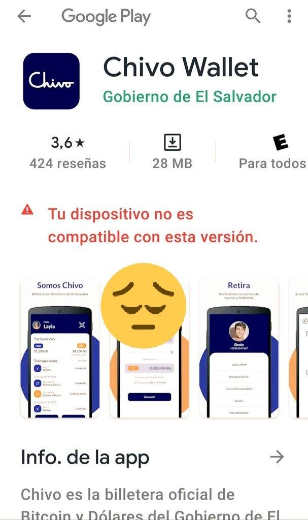 Chivowallet app on Googleplay with a sad emoji