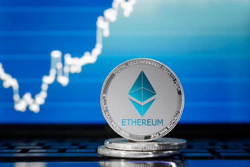 An ethereum token set against a backdrop of a rising graph