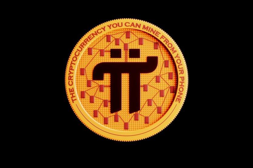"""Rappresentazione del token Pi Network, che include la frase """"la criptovaluta che puoi estrarre dal tuo telefono"""""""