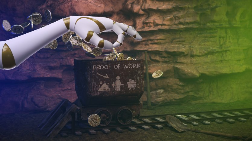 Cartoon of a robot's hand putting gold tokens into a box that says 'Poof of Work' on a green background