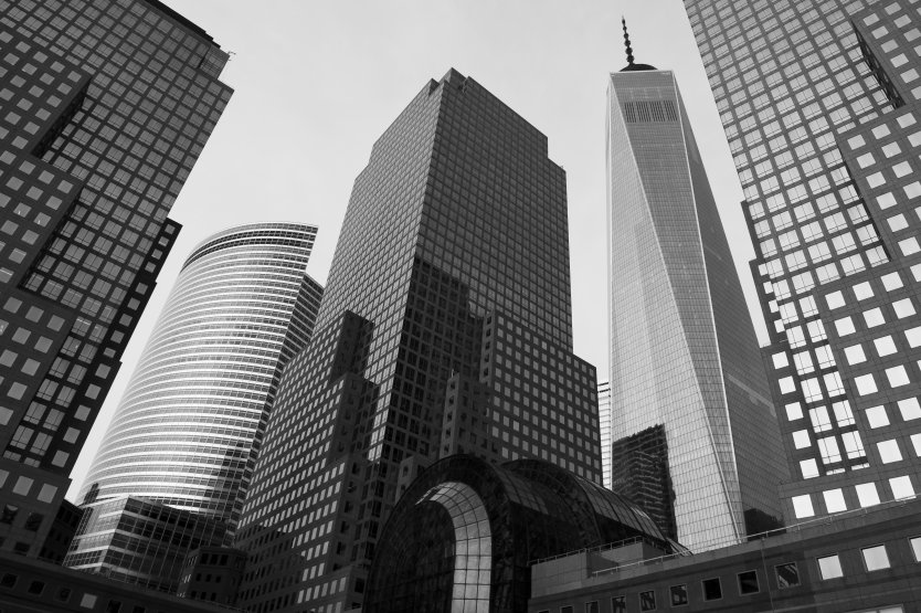 Black and white photograph of NYC