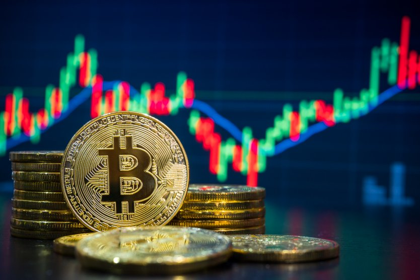 Bitcoin and cryptocurrency with graph showing price charts