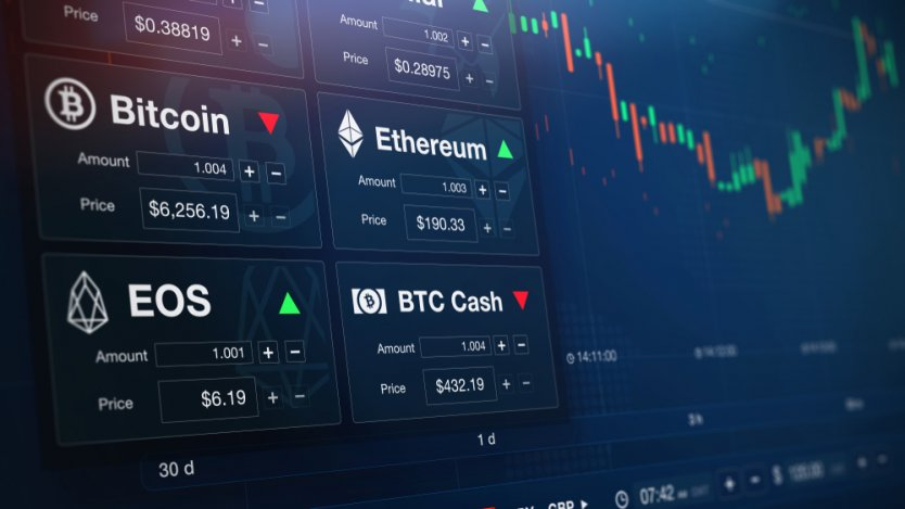 3-D illustration of cryptocurrency chart and numbers