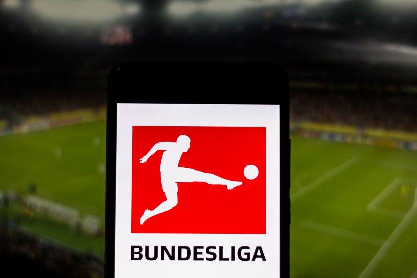 Bundesliga logo over football pitch