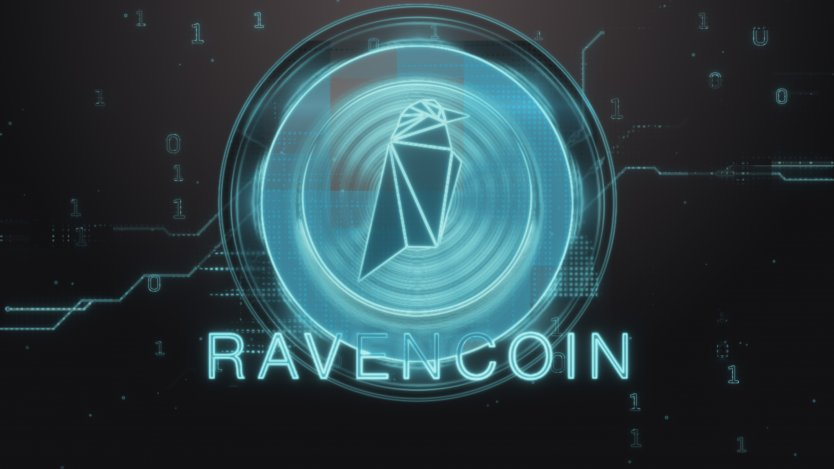 Ravencoin logo on a black background
