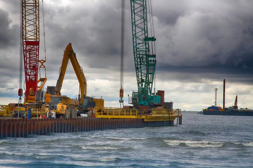 Construction of offshore section of gas pipeline on bottom of Baltic sea Nord stream-2, Narva Bay
