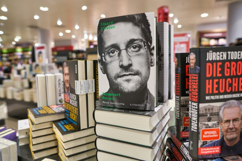 Books by Edward Snowden on sale at a store in Berlin.