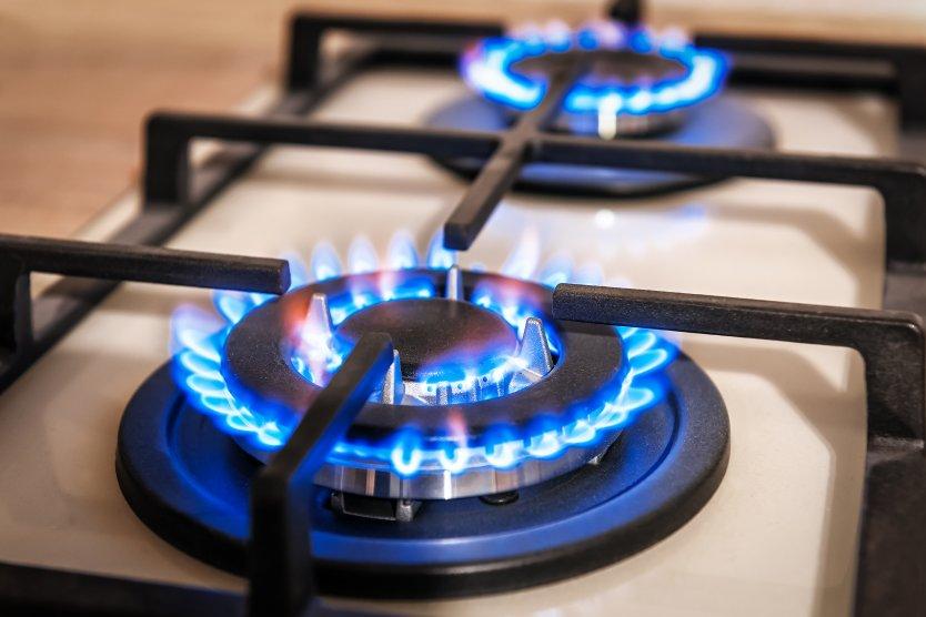 Gas burners on a stove