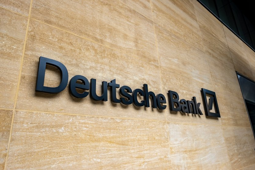 Sign outside Deutsche Bank in the city of London