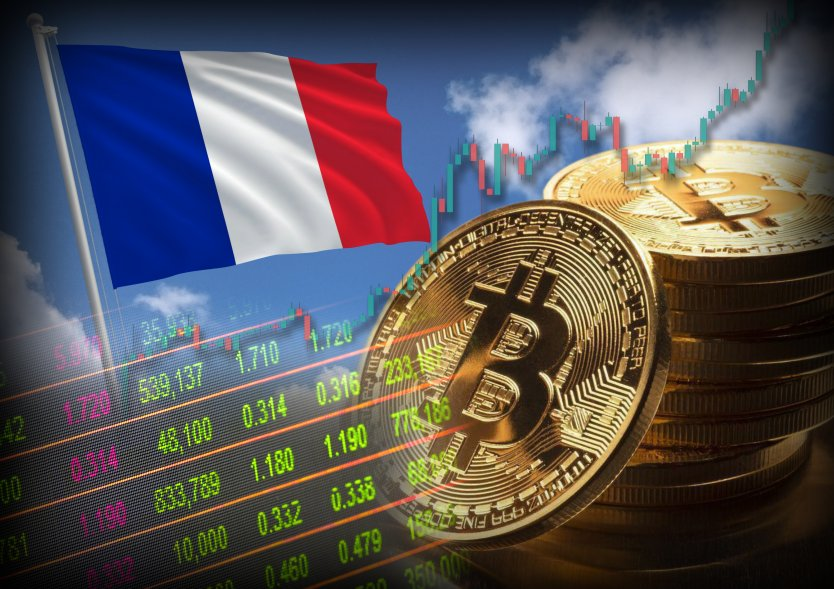 Bitcoin stocks chart, tokens and the French flag