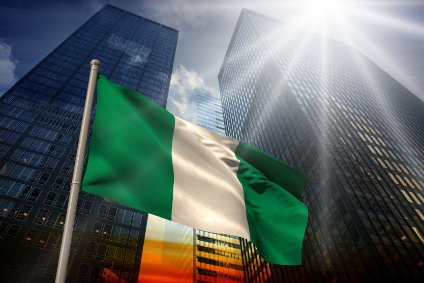 Green and white striped Nigerian flag