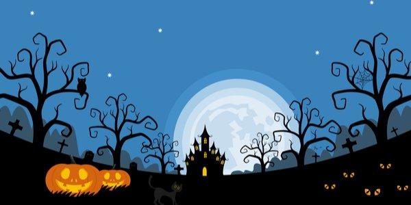 Halloween night background, pumpkins and dark castle. vector illustration