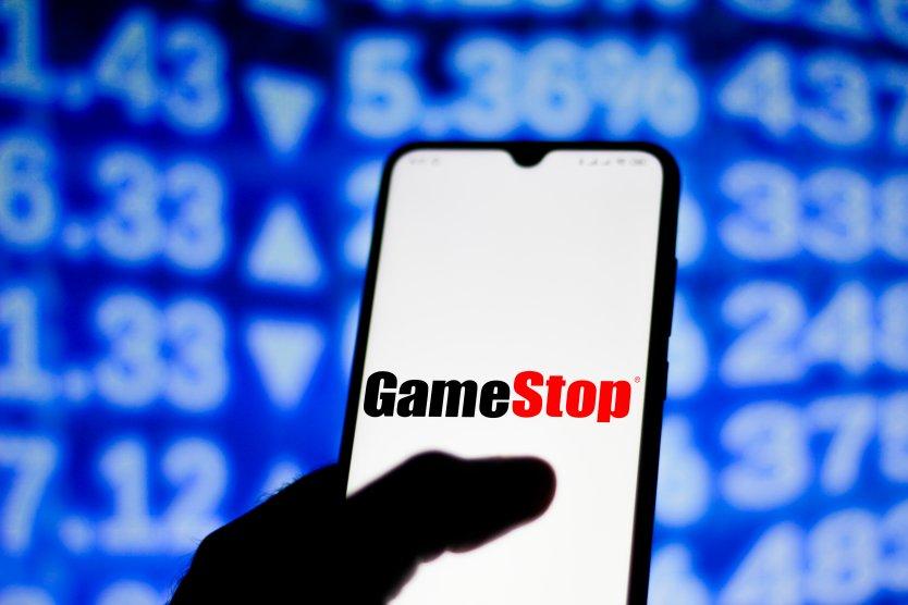 GameStop logo on a mobile phone