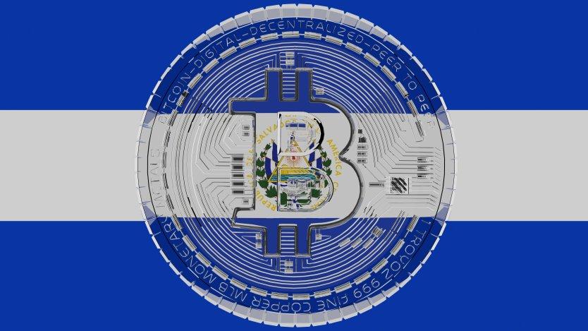 Bitcoin symbol over El Salvador flag
