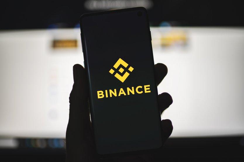Binance logo on a smartphone