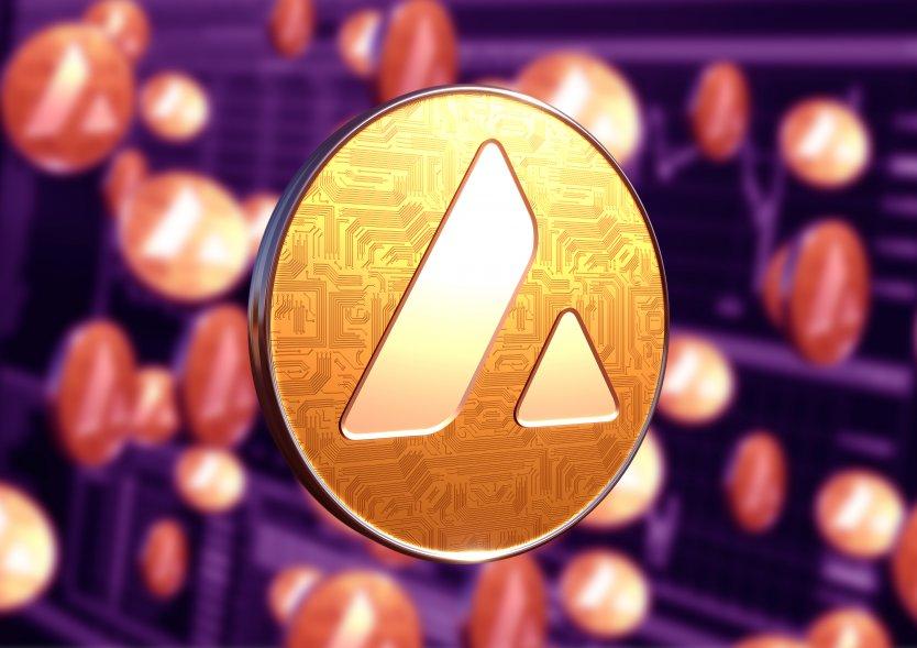 Avalanche (AVAX) logo on a coin