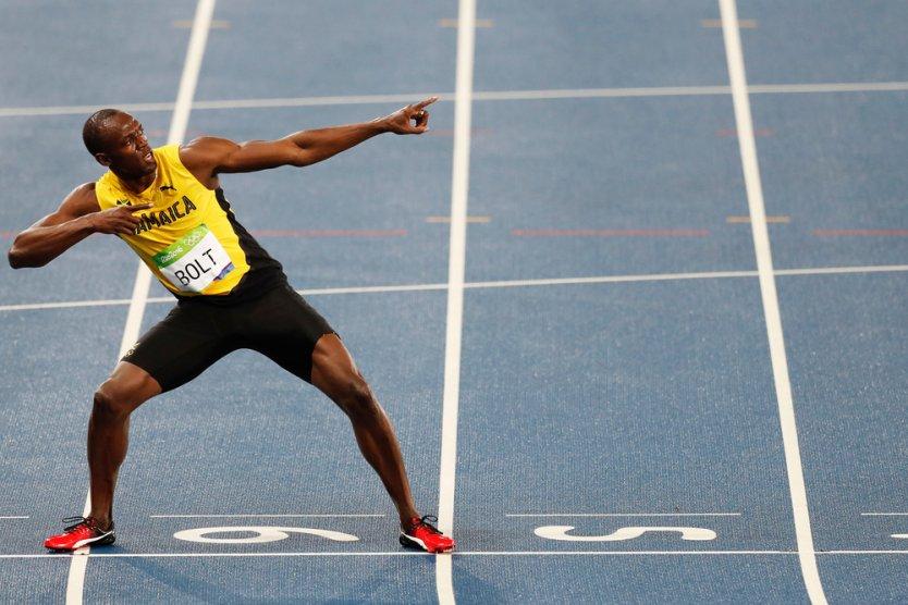 Usain Bolt making his lightning pose