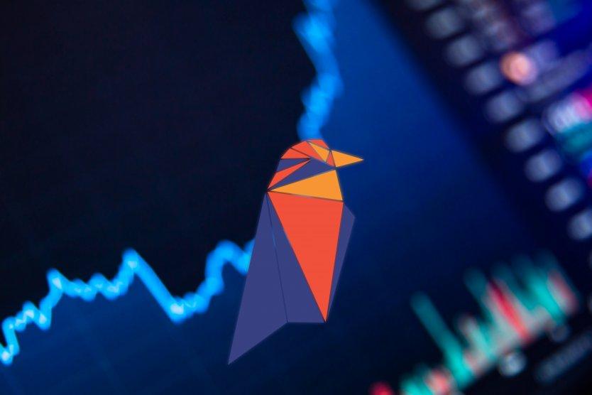 Ravencoin logo depicting a digital raven