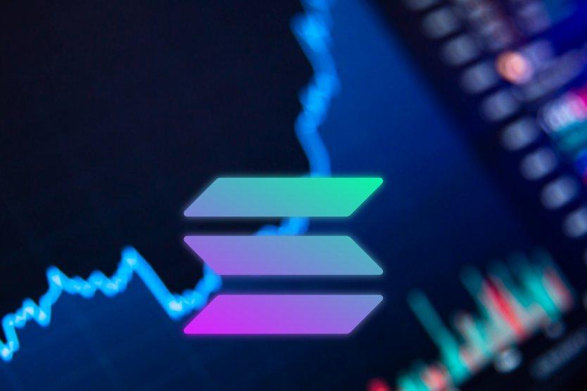 Solana symbol on vibrant chart background