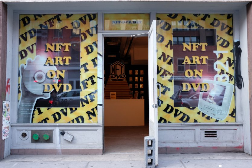 An NFT Art on DVD storefront on Canal Street in Chinatown, New York City.