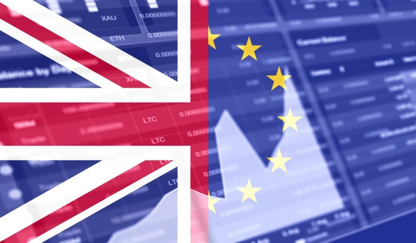 Great Britain flag and European Union flag in front of stock market graph bar